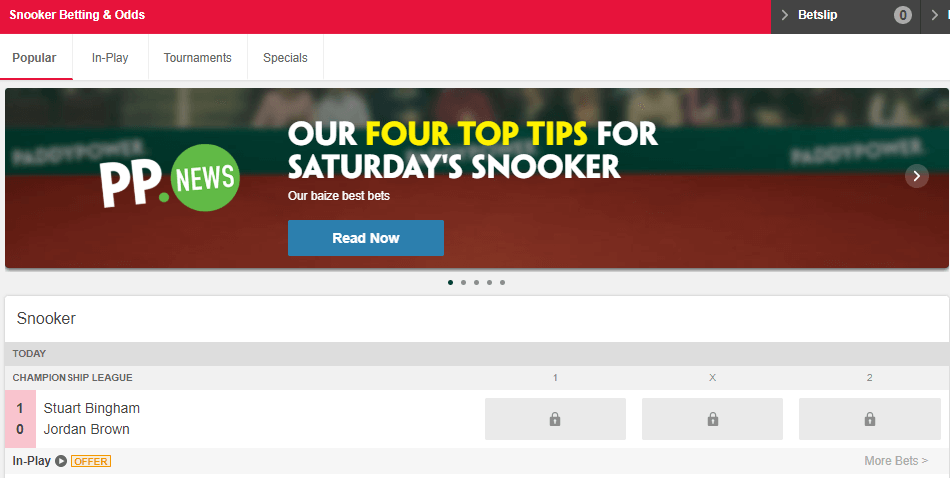 Snooker Betting & Odds at Paddy Power