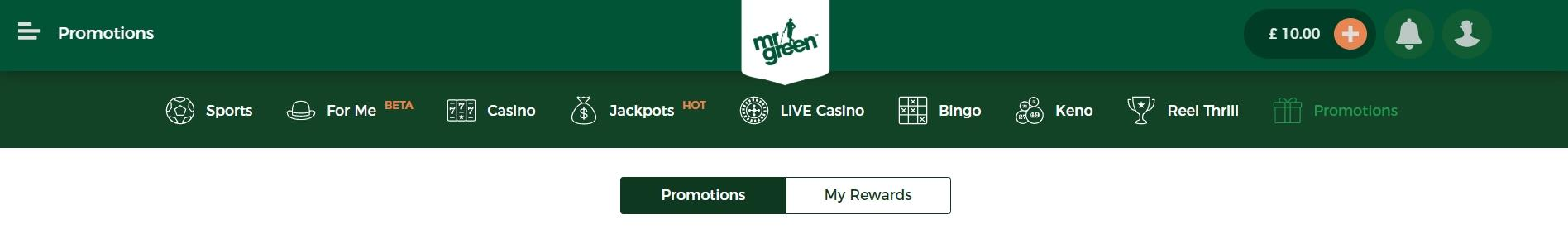 Mr Green Promotions button under site's main navigation bar
