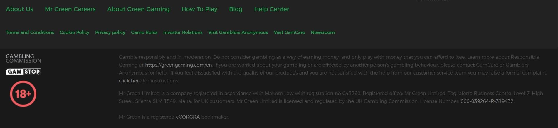 Licences and Responsible Gaming information at bottom of site