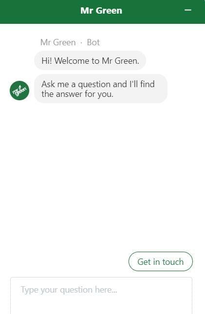 Mr Green live chat transcript