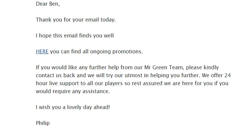 screenshot of email from Mr Green customer support agent