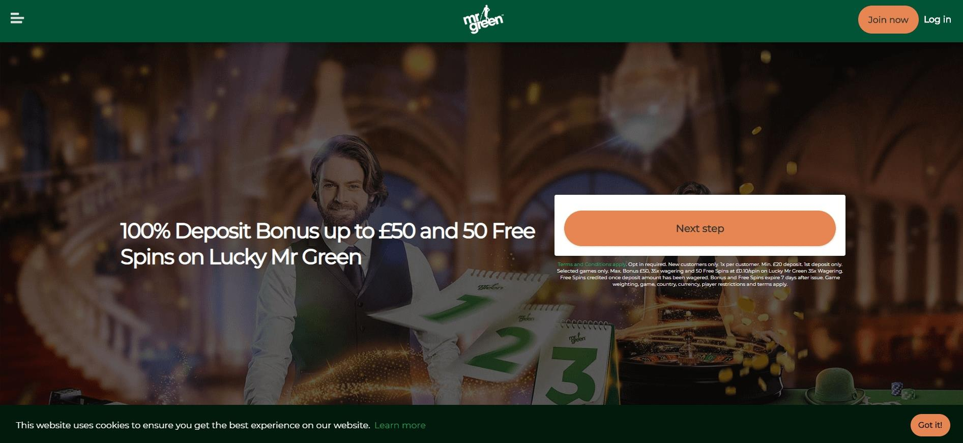 Mr Green banner showing 100% Deposit Bonus and Promotion Info