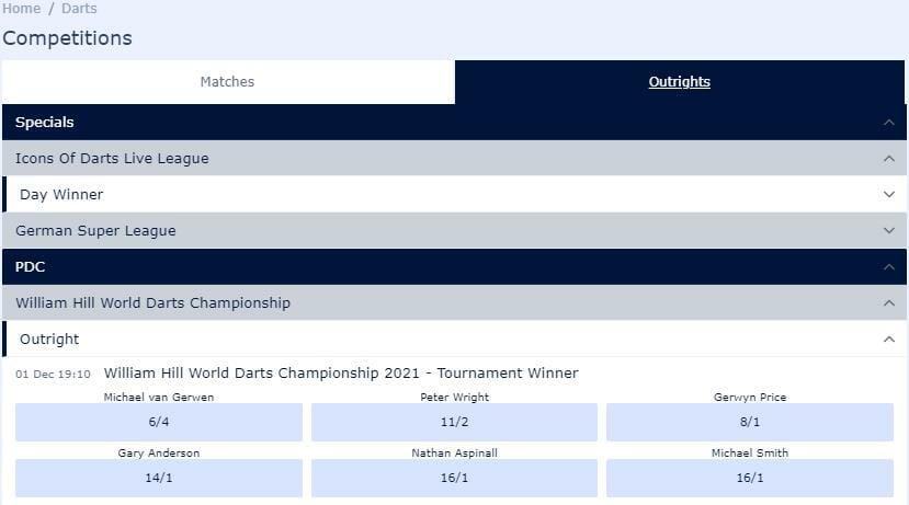 screenshot of William Hill darts championship 2021 betting markets