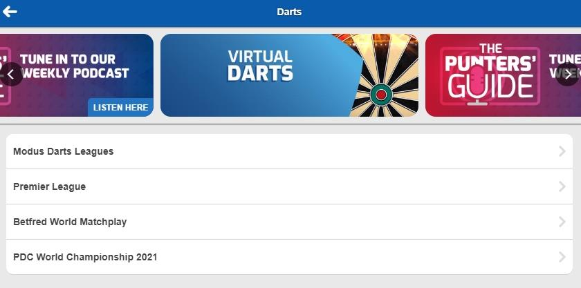screenshot of Betfred Darts betting markets