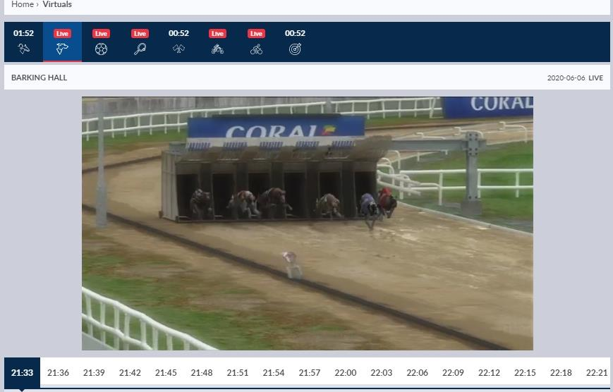 Video stream of virtual greyhound race about to start at Coral