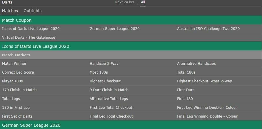 screenshot of darts betting markets on bet365