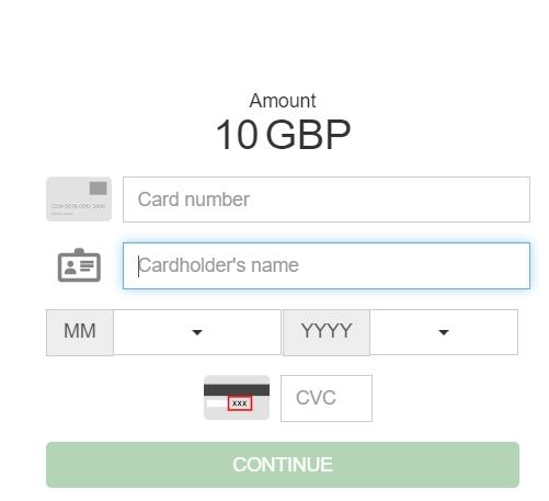Adding card details on Mr Green Banking