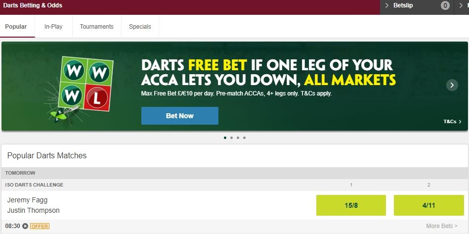 Screenshot of Popular Darts Betting & Odds at Paddy Power