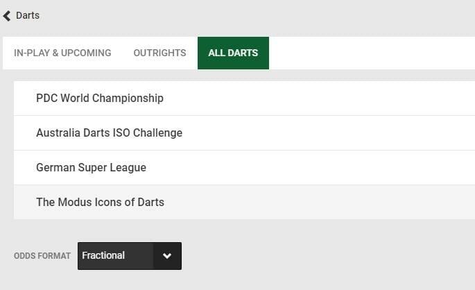 screenshot of all darts betting markets at Unibet