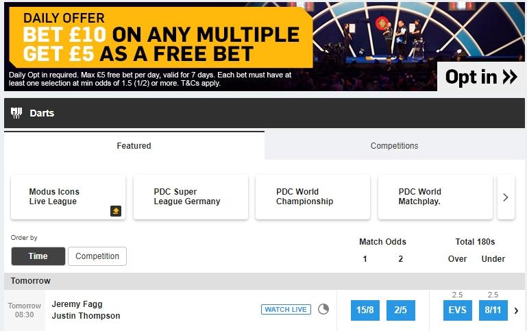 screenshot of darts betting markets at Betfair