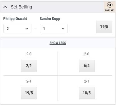 Set Betting Odds Display for Philipp Oswald vs Sandro Kopp with Cash Out button at the top right corner
