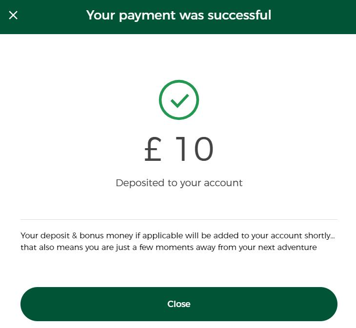Successful payment notification on Mr Green