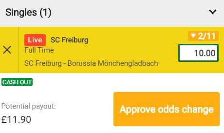Mr Green betslip showing £10 stake on live SC Freiburg at odds of 2/11