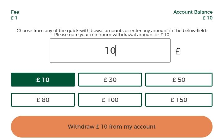 Withdrawing £10 from Mr Green account