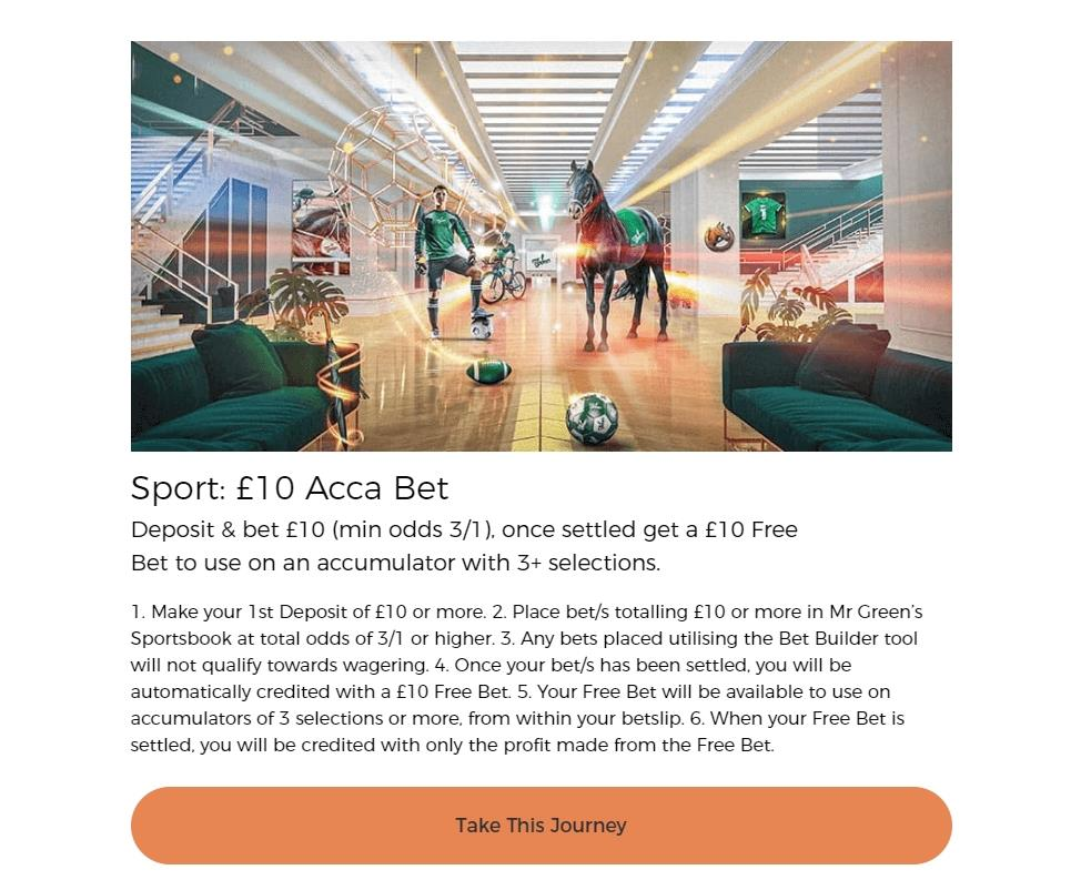 Mr Green £10 Acca Bet Banner showing terms and conditions