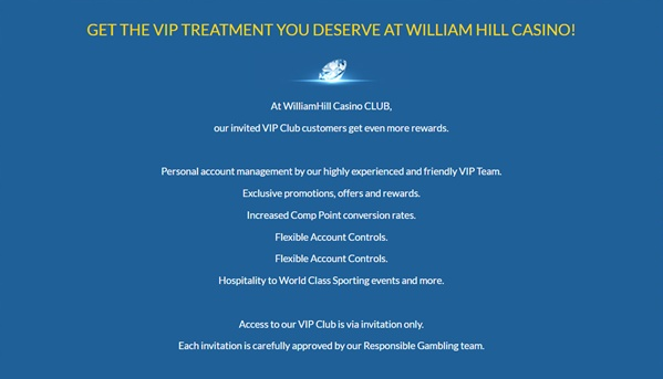 William Hill VIP Program Screenshot