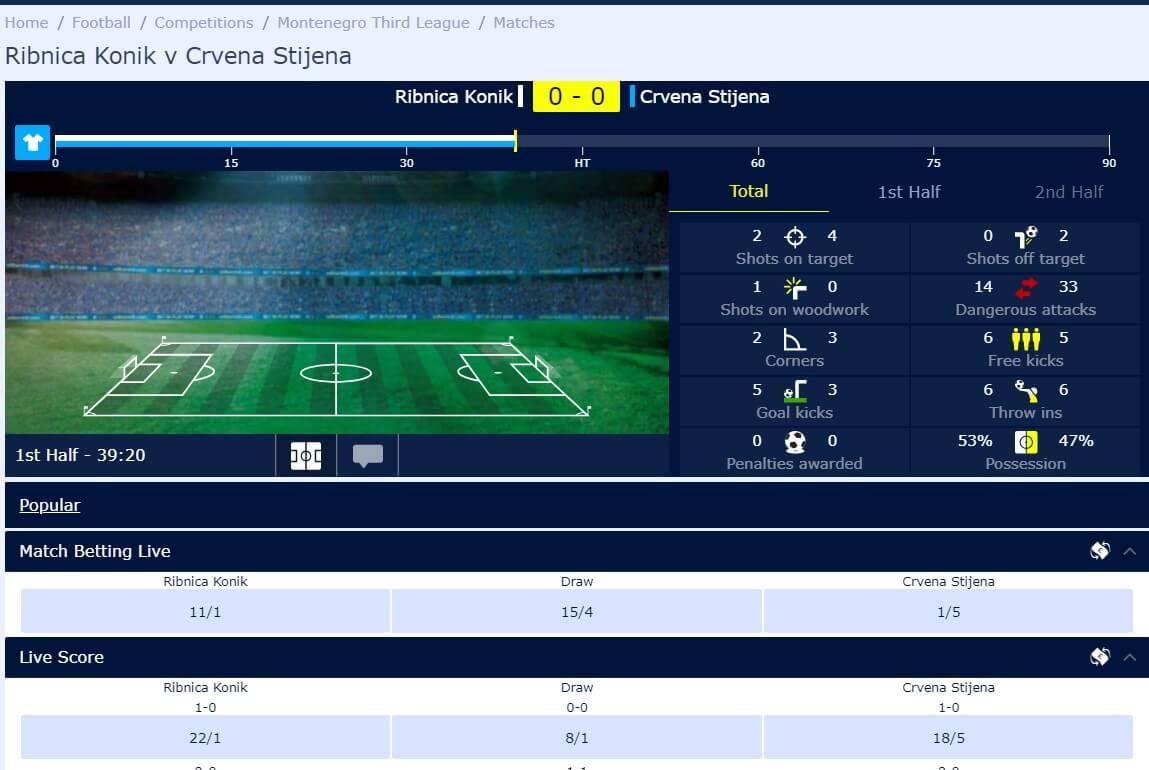 Live football match betting on William Hill for Ribnica Konik v Crvena Stijena