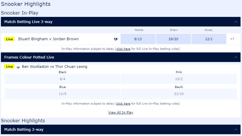screenshot of In-Play snooker markets and their odds at William Hill