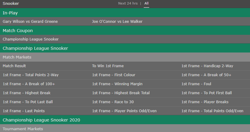 Live snooker betting at bet365