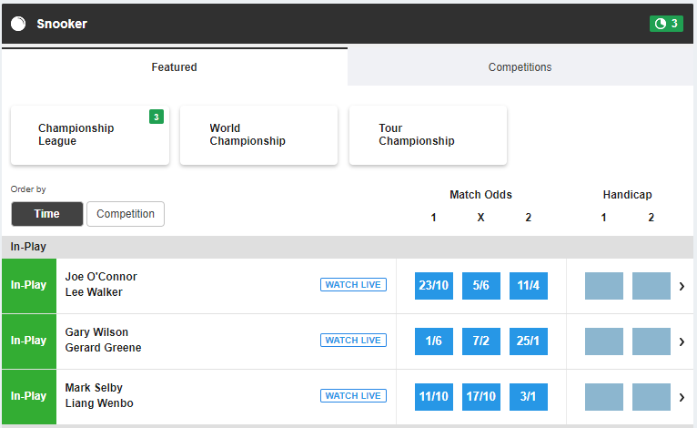 Featured snooker betting markets at Betfair