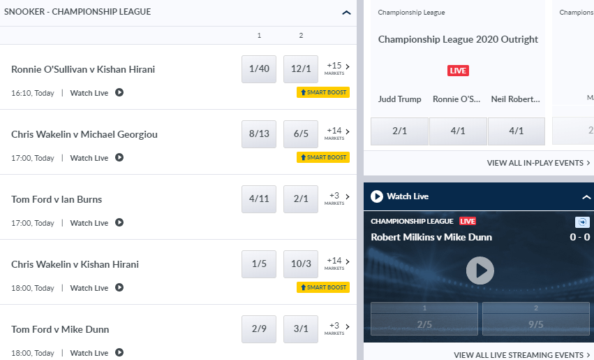 screenshot of Coral snooker markets with odds displayed