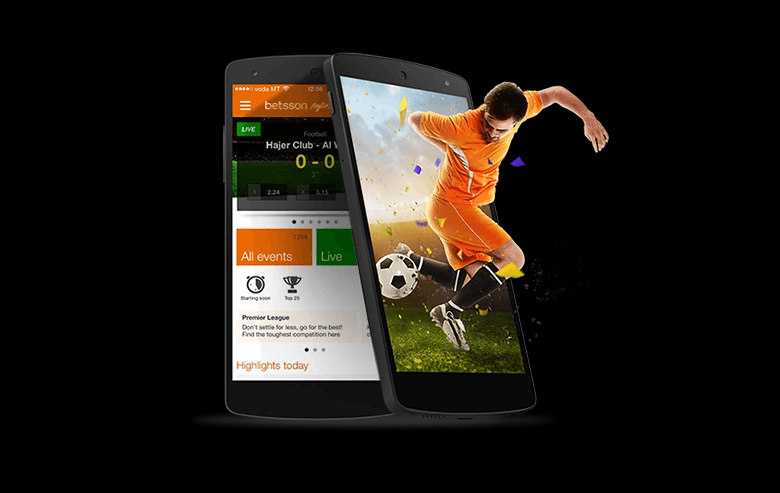 Betsson banner showing a football player leaping out of a smartphone