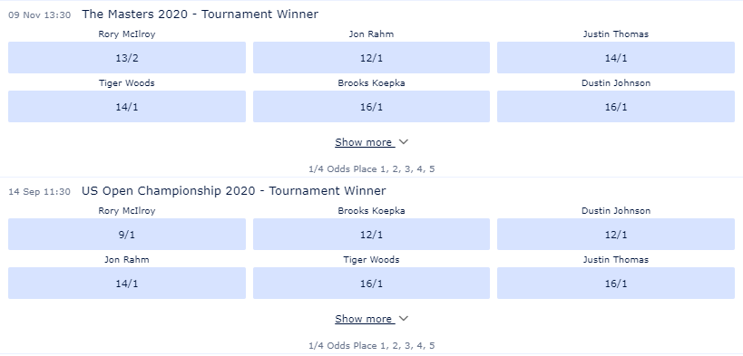 Odds on William Hill for The Masters 2020 and the US Open Championship 2020