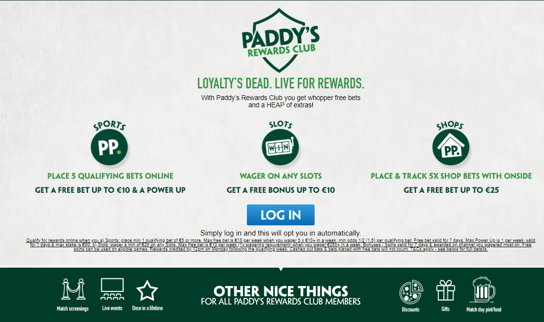 Paddy Power's Rewards Club banner