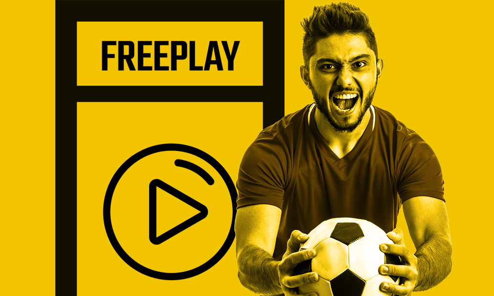 Colossus Bets Freeplay banner showing a footballer holding a ball