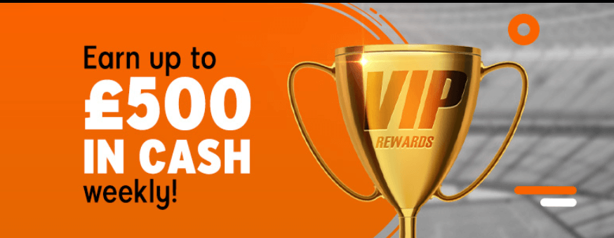 """888sport VIP Rewards banner saying """"Earn up to £500 in cash weekly!"""""""