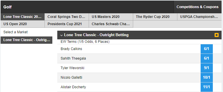 Lone Tree Classic 2020 - Outright Betting Market on Betfair