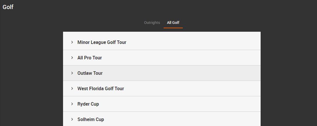 Golf Betting Markets on 888sport
