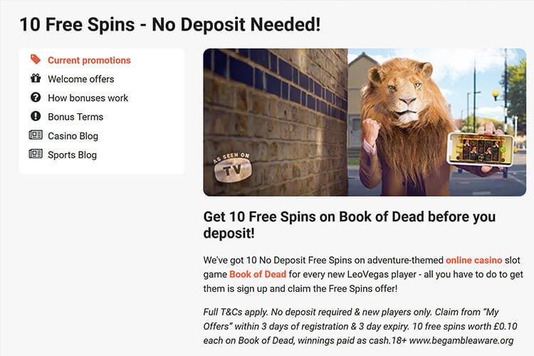 LeoVegas 20 free spins no deposit bonus