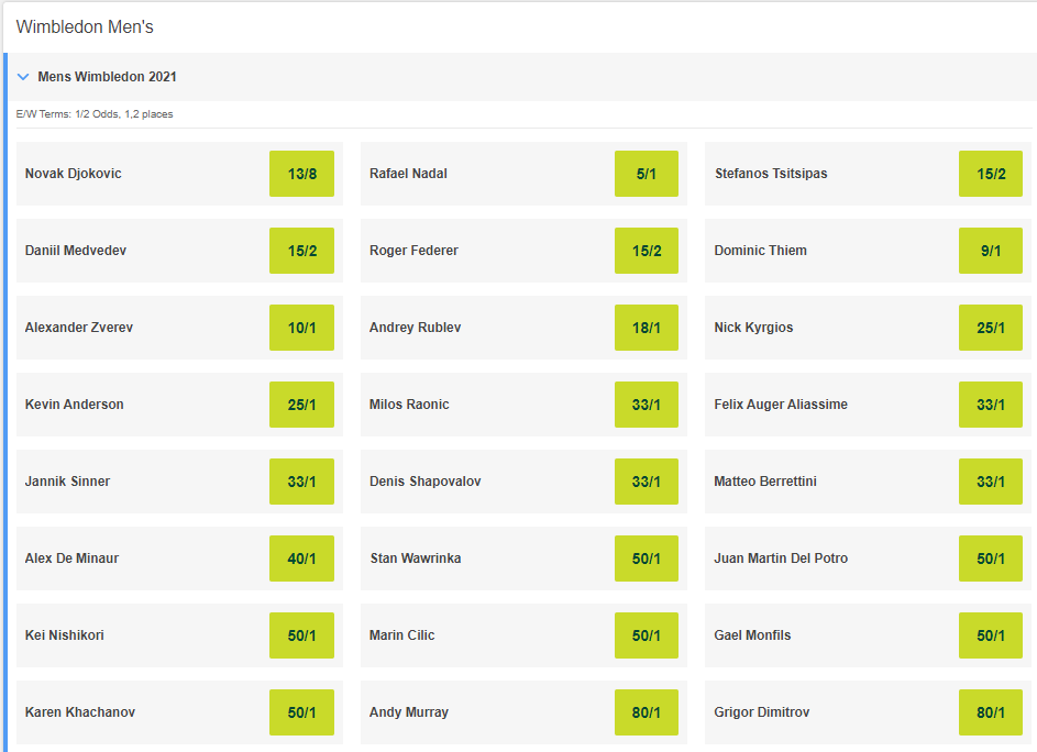 Screenshot of Men's Wimbledon 2021 Odds for each player on Paddy Power