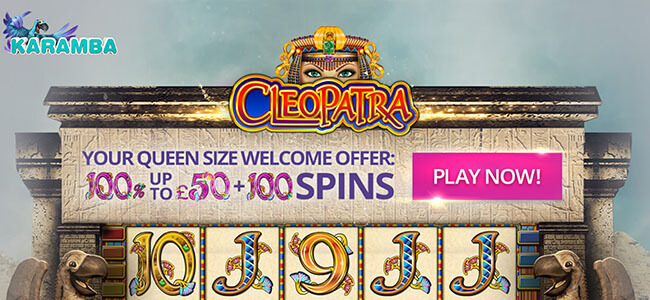 Karmaba welcome offer 100% match bonus up to £50 + 100 spins