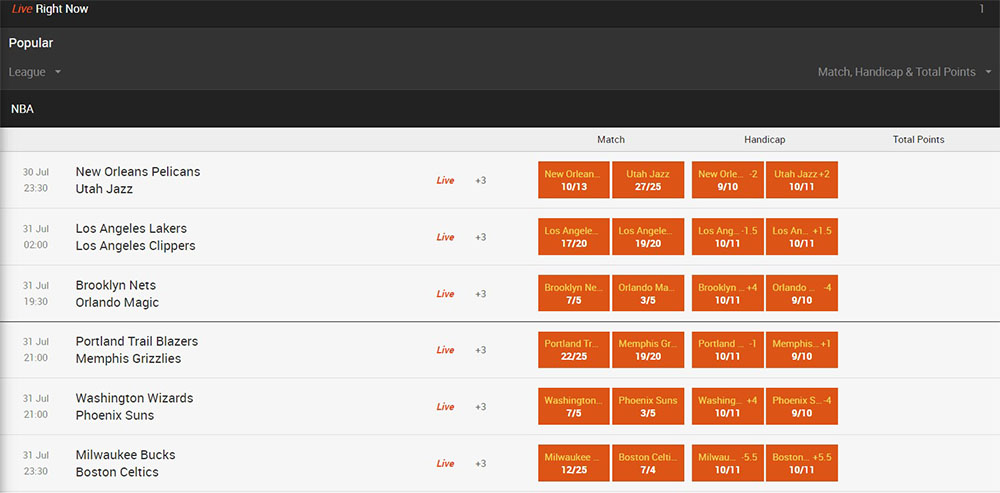Popular NBA league betting markets on 888sport with odds displayed