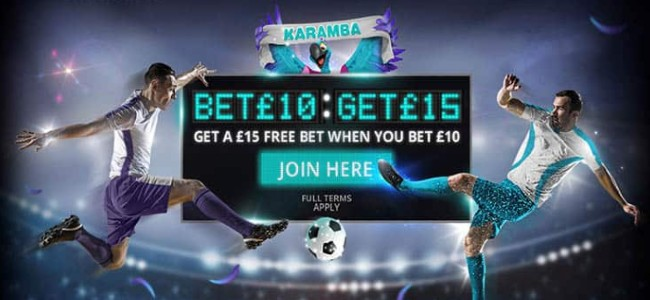 Karamba offer Bet £10 get £15