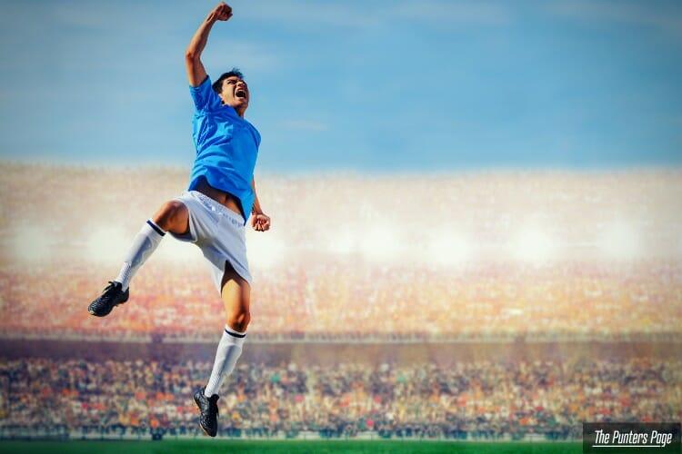 Player Celebrating mid air