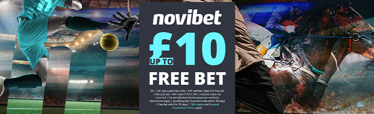 Novibet up to £25 free bet promotion banner