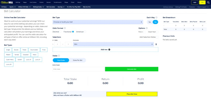 William Hill Online Free bet Calculator