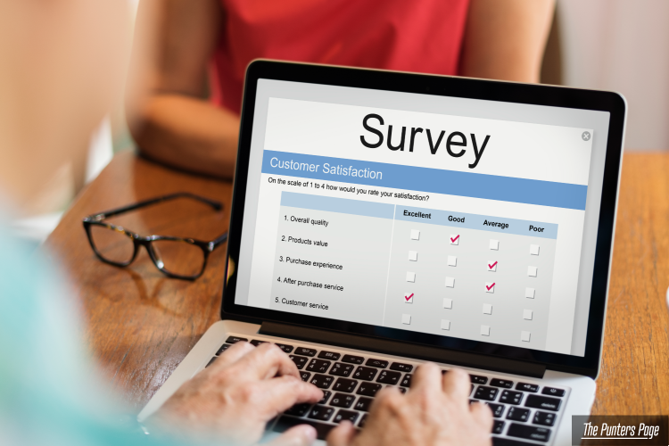 Laptop screen with a survey showing
