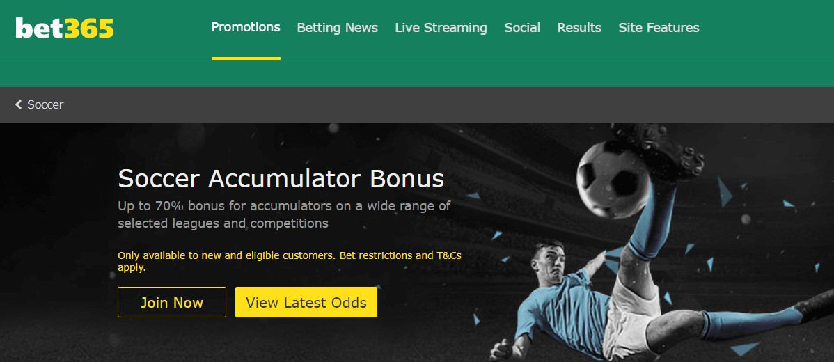 Bet365 Homepage Acca Promo