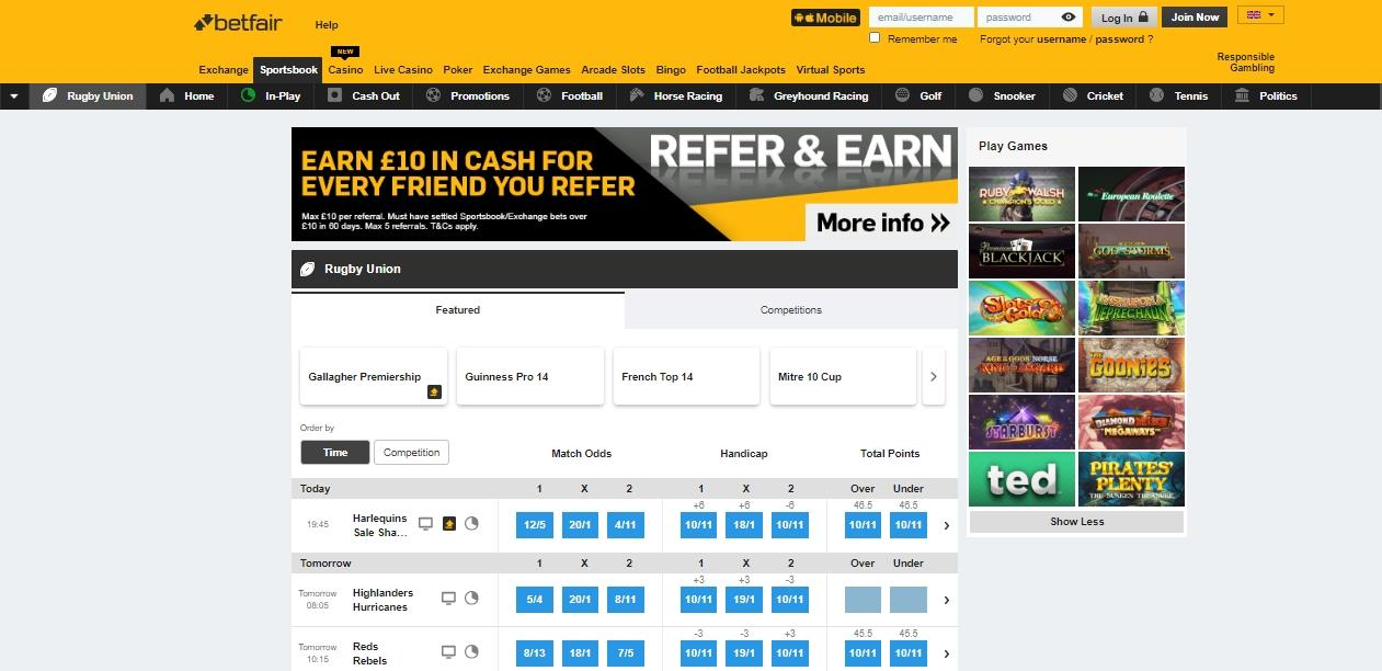 Betfair Rugby Union markets
