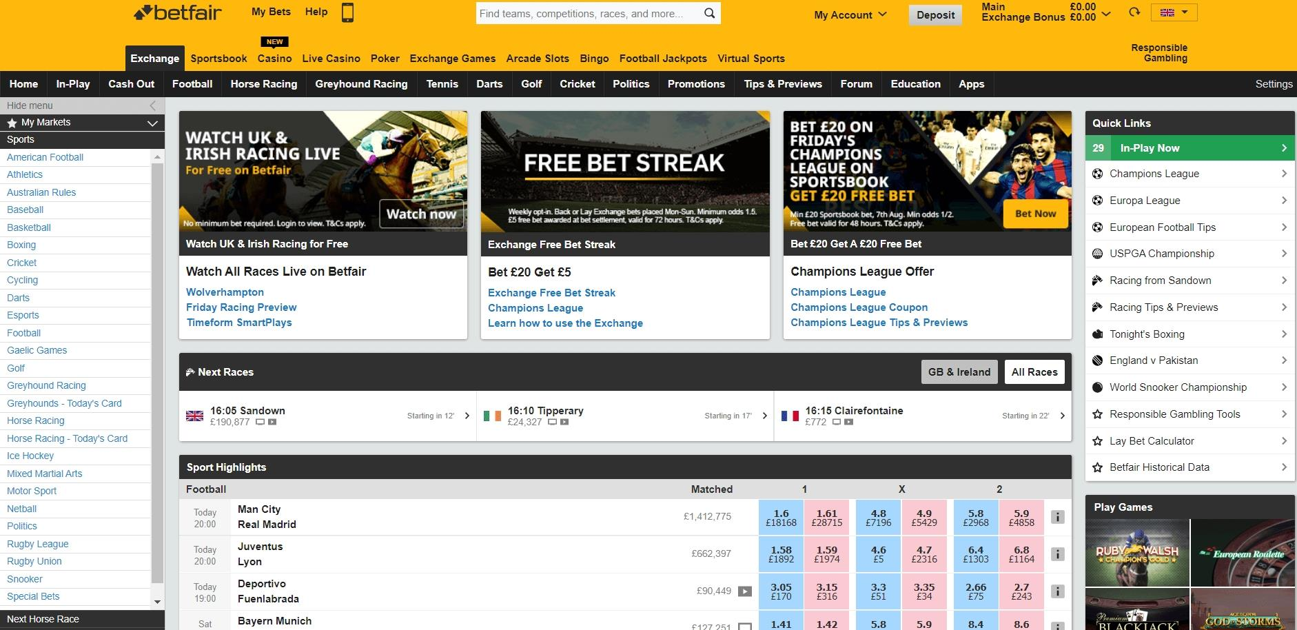 Betfair Exchange page showing odds for Sports Highlights markets