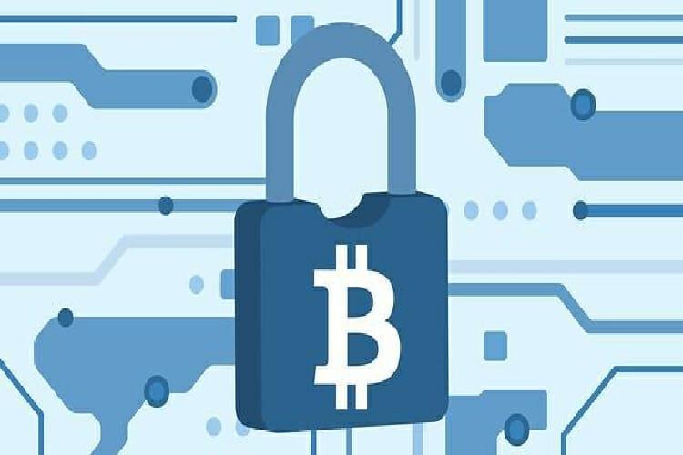 padlock with bitcoin logo