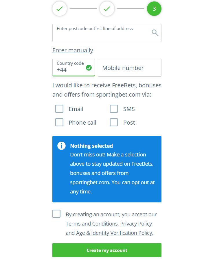 Sportingbet Registration Screen 3