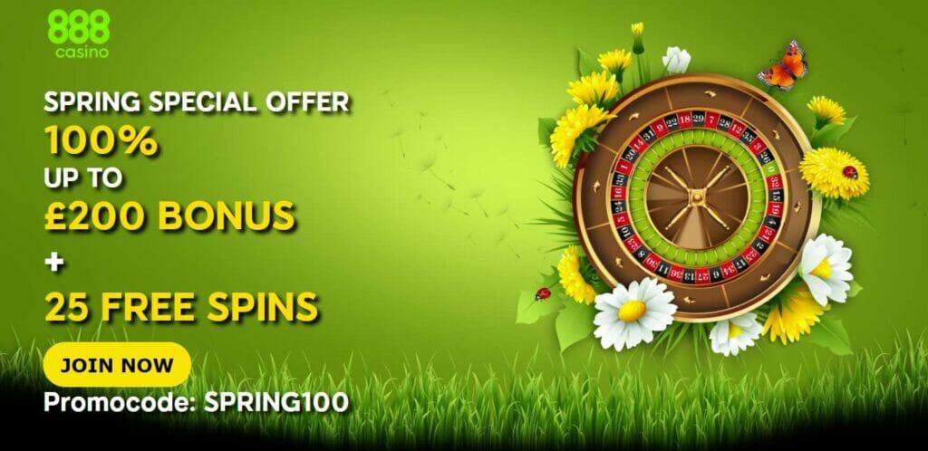 888 casino spring offer screenshot