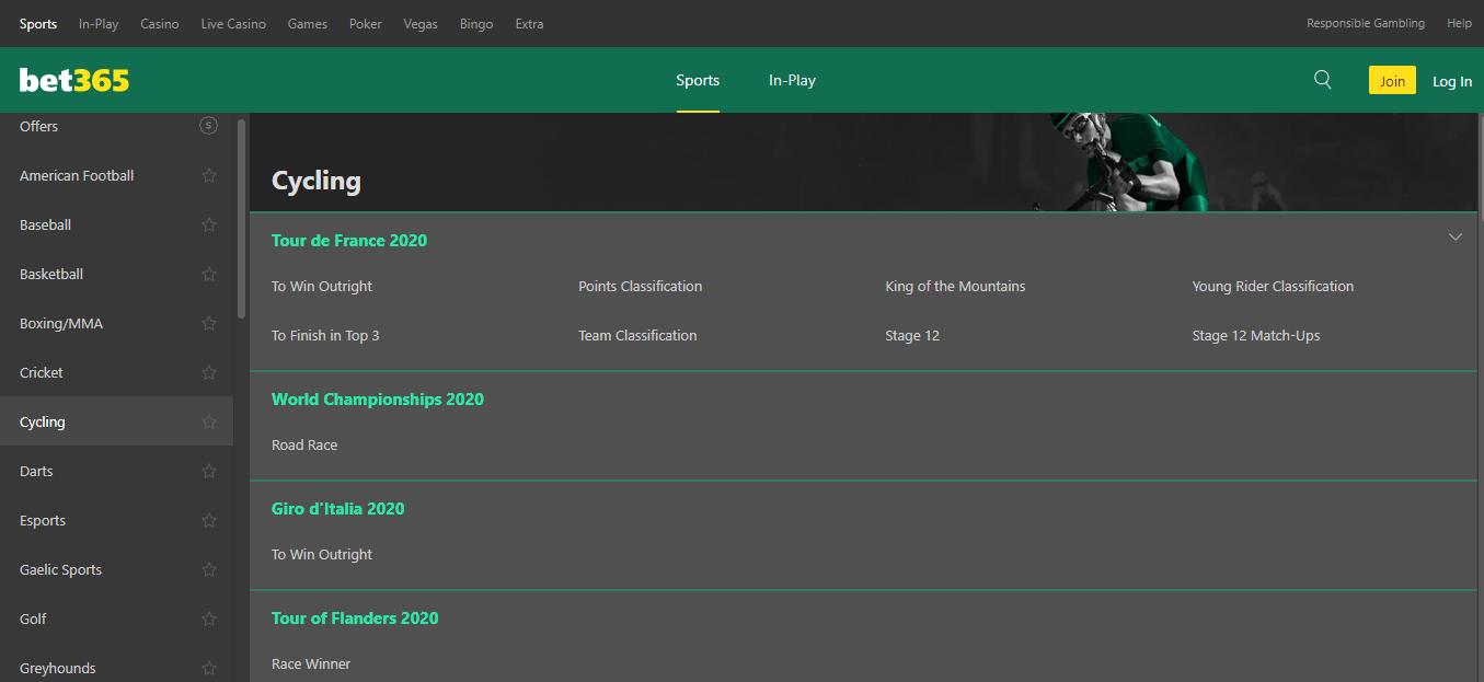 bet365 cycling betting markets