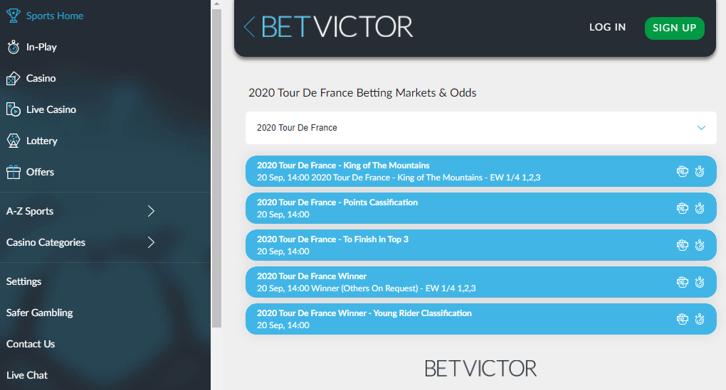 betvictor cycling betting markets
