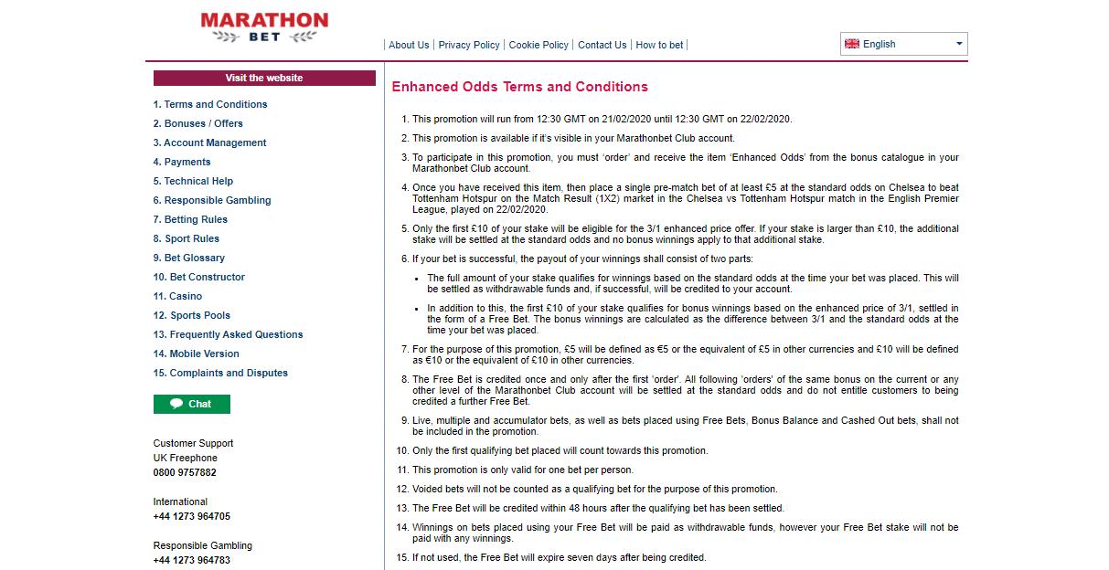 Marathonbet Enhanced Odds Terms And Conditions